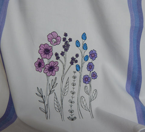 Embroidered Towel-Wildflowers-Blue
