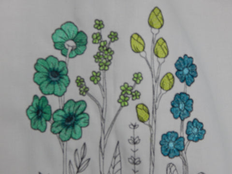 Embroidered Towel-Wildflowers-Teal