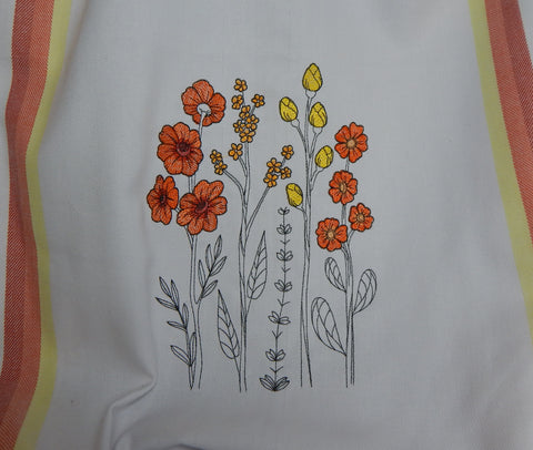 Embroidered Towel-Wildflowers-Orange