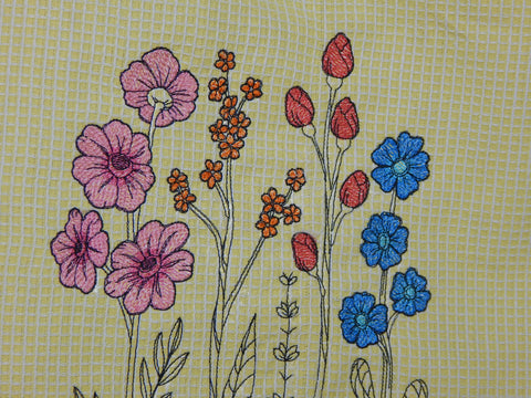 Embroidered Towel-Wildflowers-Yellow
