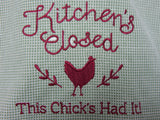 Embroidered Kitchen Towel-Chick-Burgandy/Sage