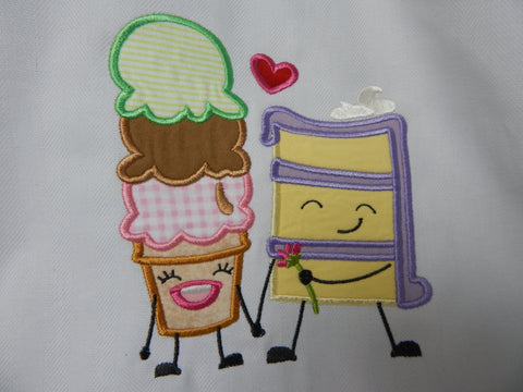 Embroidered Kitchen Towel-Applique-Cake and Ice Cream