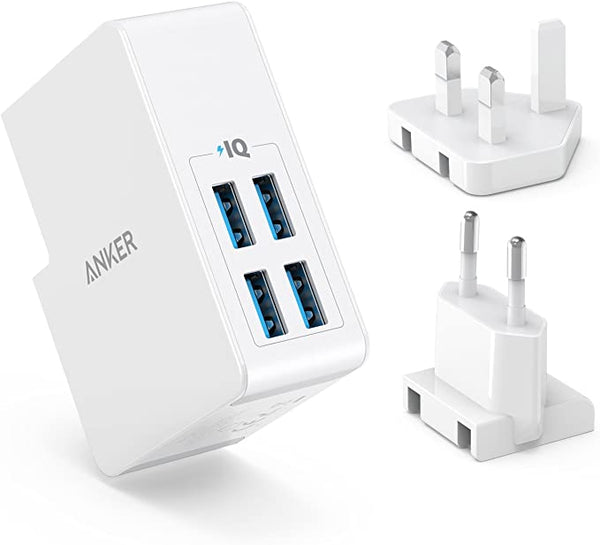Anker - PowerPort 4 Lite 27W Charger With 4 USB-A PowerIQ Ports