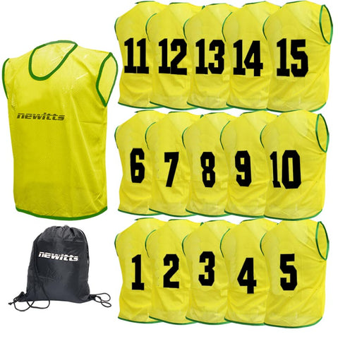 Newitts Numbered Training Bibs 1-15 - Yellow