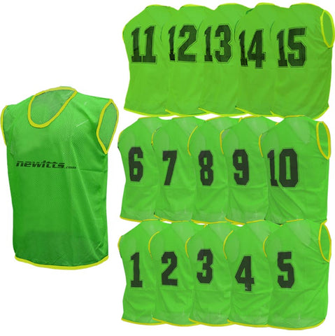 Newitts Numbered Training Bibs 1-15 - Green