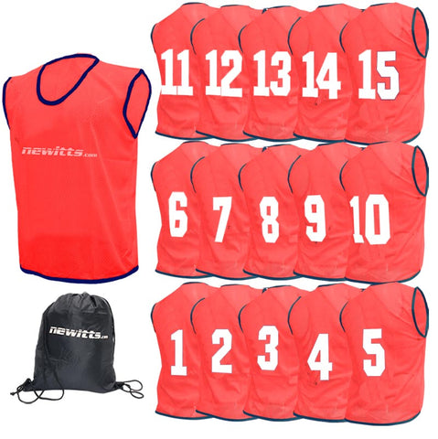 Newitts Numbered Training Bibs 1-15 - Red
