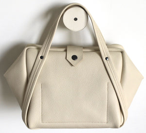 plum frrry bag. champagne colour. leather.