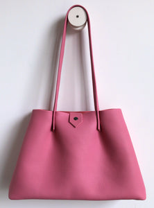Amos frrry shoulder bag long handle spacious button closure pink lindos  calf leather