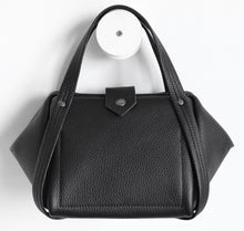 Load image into Gallery viewer, bes frrry bag black cute small handbag handle goes all around. loop. infinity symbol