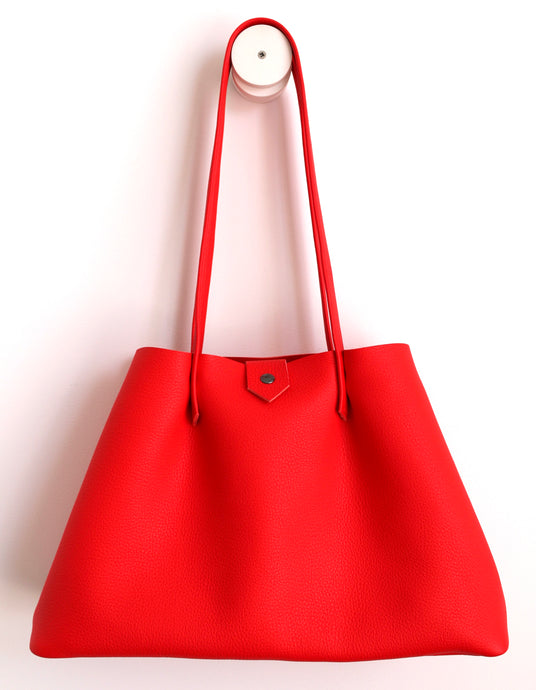Amos frrry shoulder bag long handle spacious button closure pepper lindos leather red