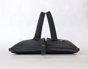 pumpkin frrry. foldable bag. black. flat pack. zipper closure.