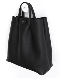 Monday frrry tote bag. shoulder strap. Black. side view