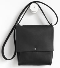 Load image into Gallery viewer, Golden loop. frrry. shoulder bag. loop handle strap. black leather.