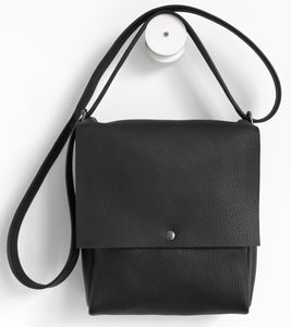 Golden loop. frrry. shoulder bag. loop handle strap. black leather.