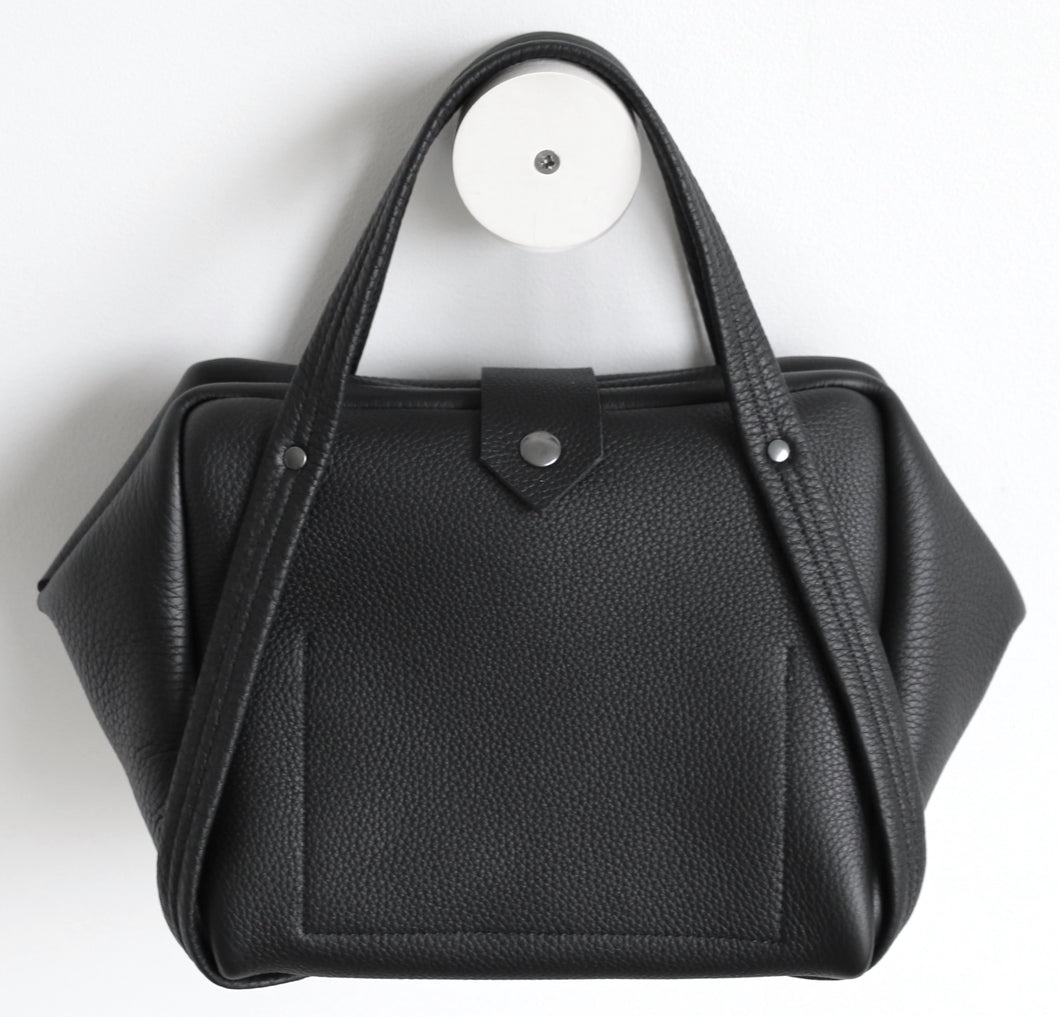 plum frrry bag. black colour. soft leather.