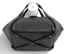 Load image into Gallery viewer, bes frrry bag black cute small handbag. bottom view. crossing handles. 8-shape