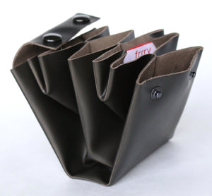 A4 wallet frrry leather black-hiding-brown. folded origami