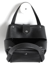 Load image into Gallery viewer, bes frrry bag black cute small handbag. open. top-view. view from above. button closure. snap. handles. strong