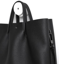 Load image into Gallery viewer, Monday frrry tote bag. shoulder strap.  black. detail view. snap hook. ring .