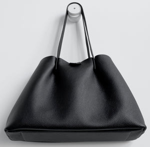 Amos frrry shoulder bag long handle black lindos calf leather. bottom chrome-free leather