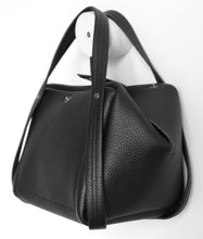 Load image into Gallery viewer, bes frrry bag black small handbag. opening. side-view. block. square triangle