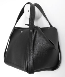 bes frrry bag black small handbag. opening. side-view. block. square triangle