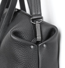 Load image into Gallery viewer, Wednesday frrry bag. black. chrome-free leather. detail. corner. snap hook.