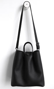 Monday frrry tote bag. black. shoulder strap. long strap.
