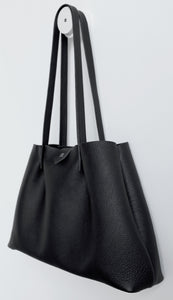 Amos frrry shoulder bag long handle black lindos calf leather. side view. everyday use tote