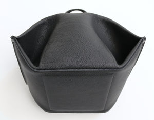 pumpkin frrry. foldable bag. black leather. bottom view. reinforced bottom. strong construction.