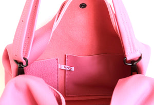 owl frrry bag leather. pink. inside view. two pockets.