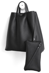 Monday frrry tote bag. shoulder strap. black. small clutch included. pockets