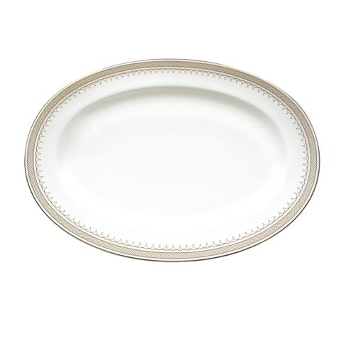 Lattice Gold Oval Platter 14-1/4""