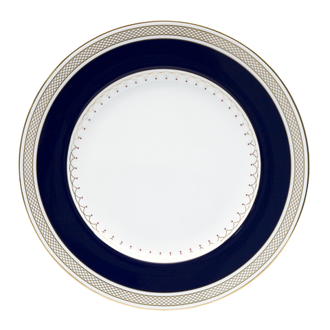 Lattice Gold Blue Round Accent Plate 9""