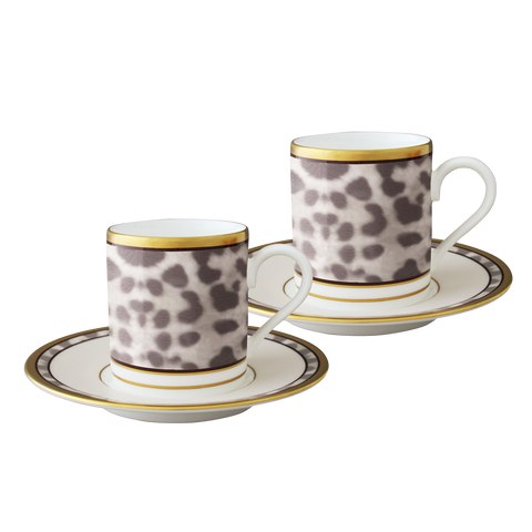 Snow Leopard Espresso cup and saucer (Set of 2)