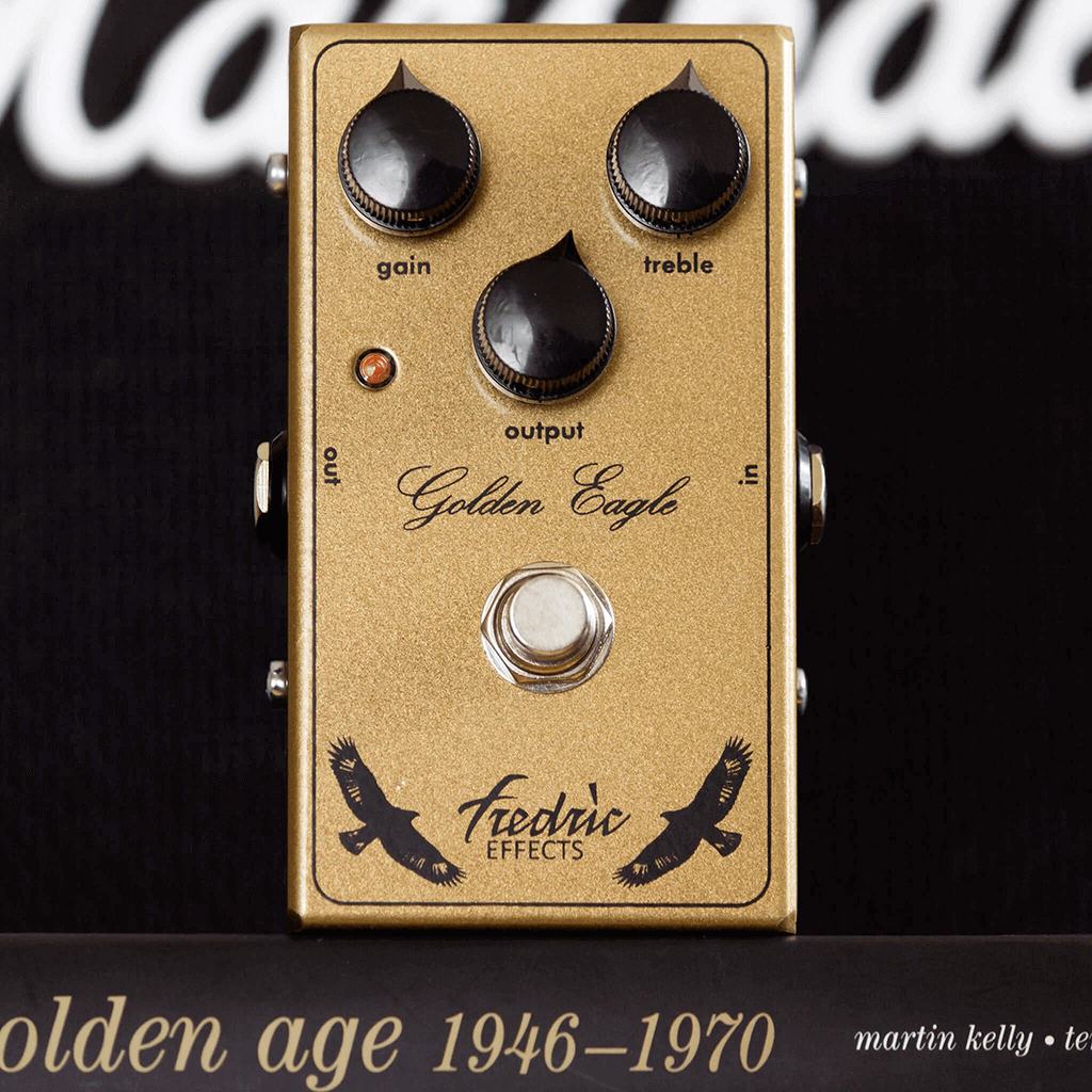 FREDRIC EFFECTS Golden Eagle Front Context | Boost Guitar Pedals