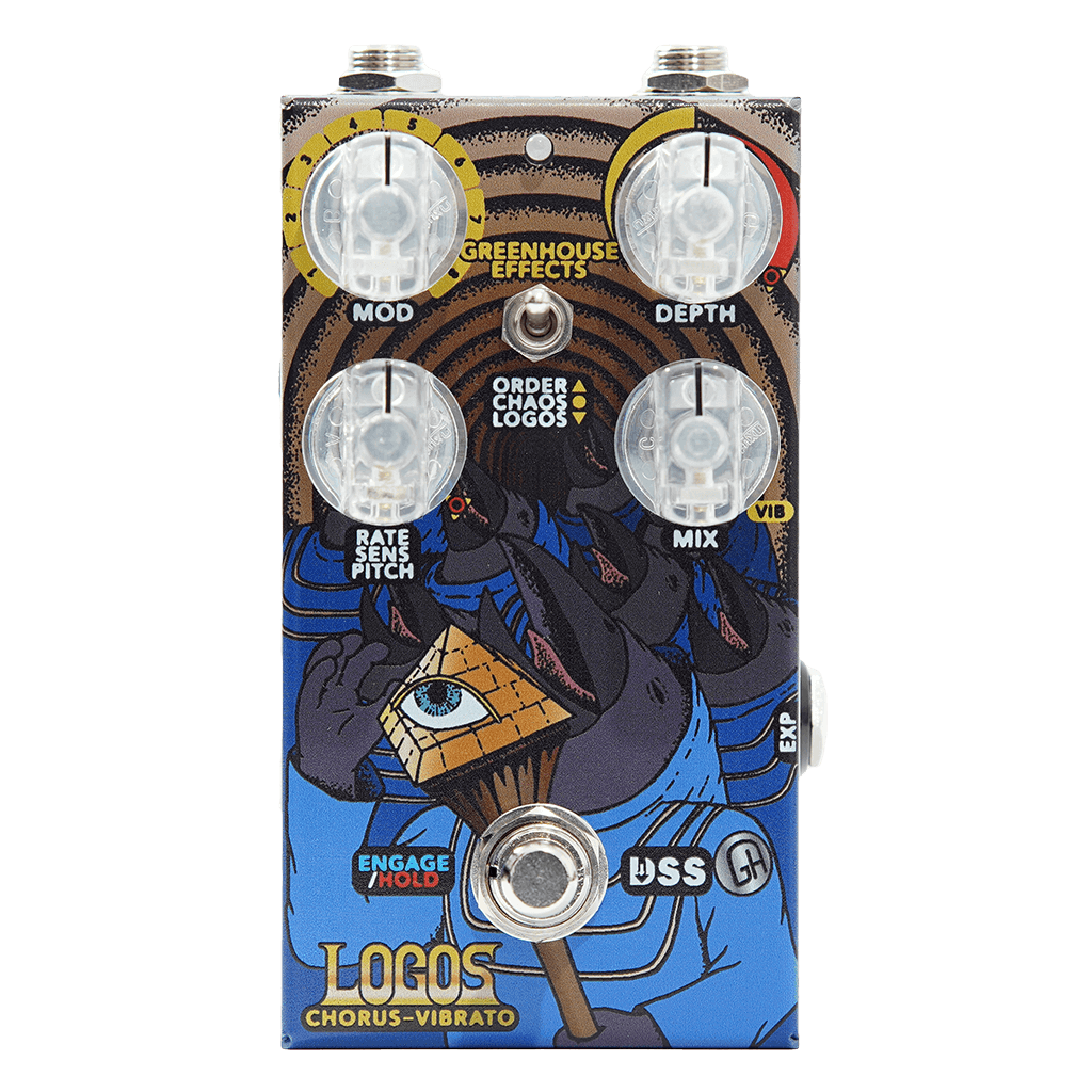 GREENHOUSE EFFECTS Logos Chorus-Vibrato Front Transparent | Boost Guitar Pedals