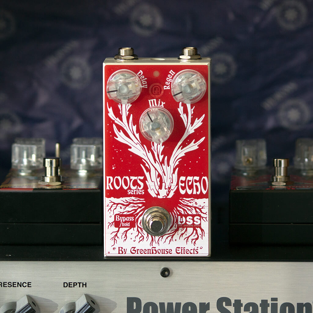 GREENHOUSE EFFECTS Roots Echo Front Context | Boost Guitar Pedals
