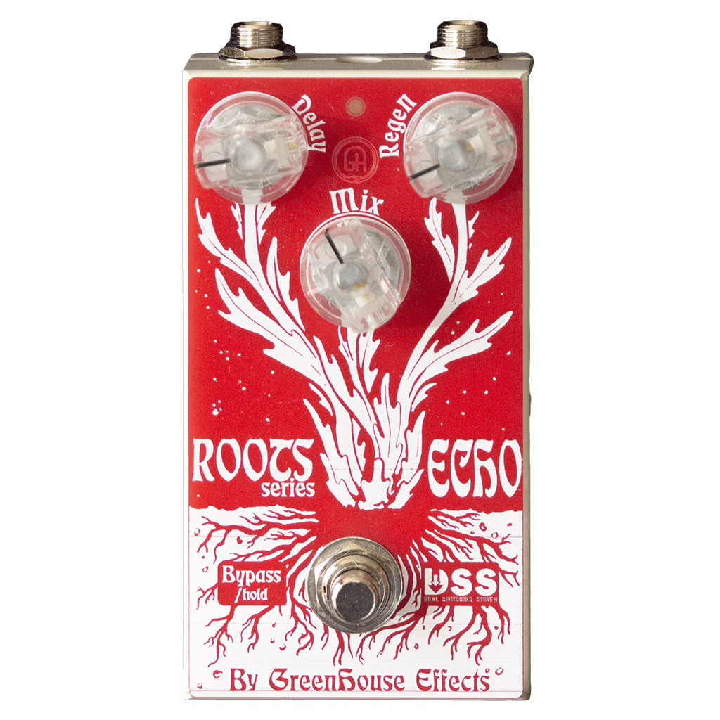 GREENHOUSE EFFECTS Roots Echo Front Transparent | Boost Guitar Pedals