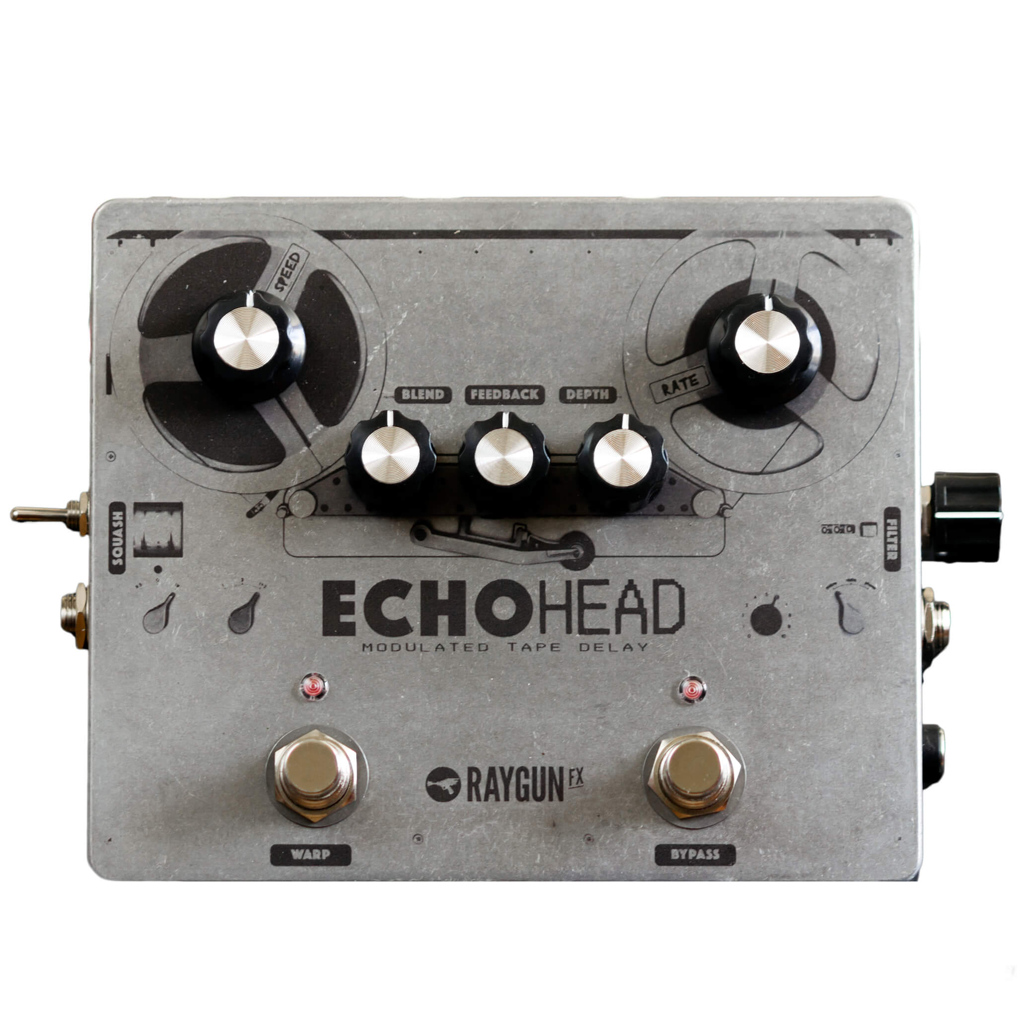 RAYGUN FX Echohead Analogue Delay front transparent - Boost Guitar Pedals