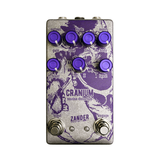 ZANDER CIRCUITRY Cranium Murine Distortion front transparent | Boost Guitar Pedals