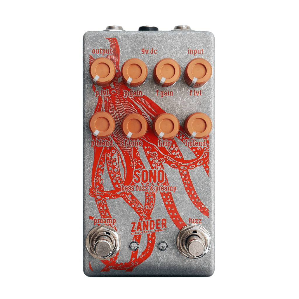 ZANDER CIRCUITRY Sono Bass Fuzz & Preamp front transparent | Boost Guitar Pedals