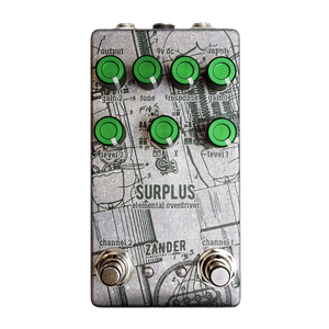 ZANDER CIRCUITRY Surplus Elemental Overdriver Front Transparent | Boost Guitar Pedals