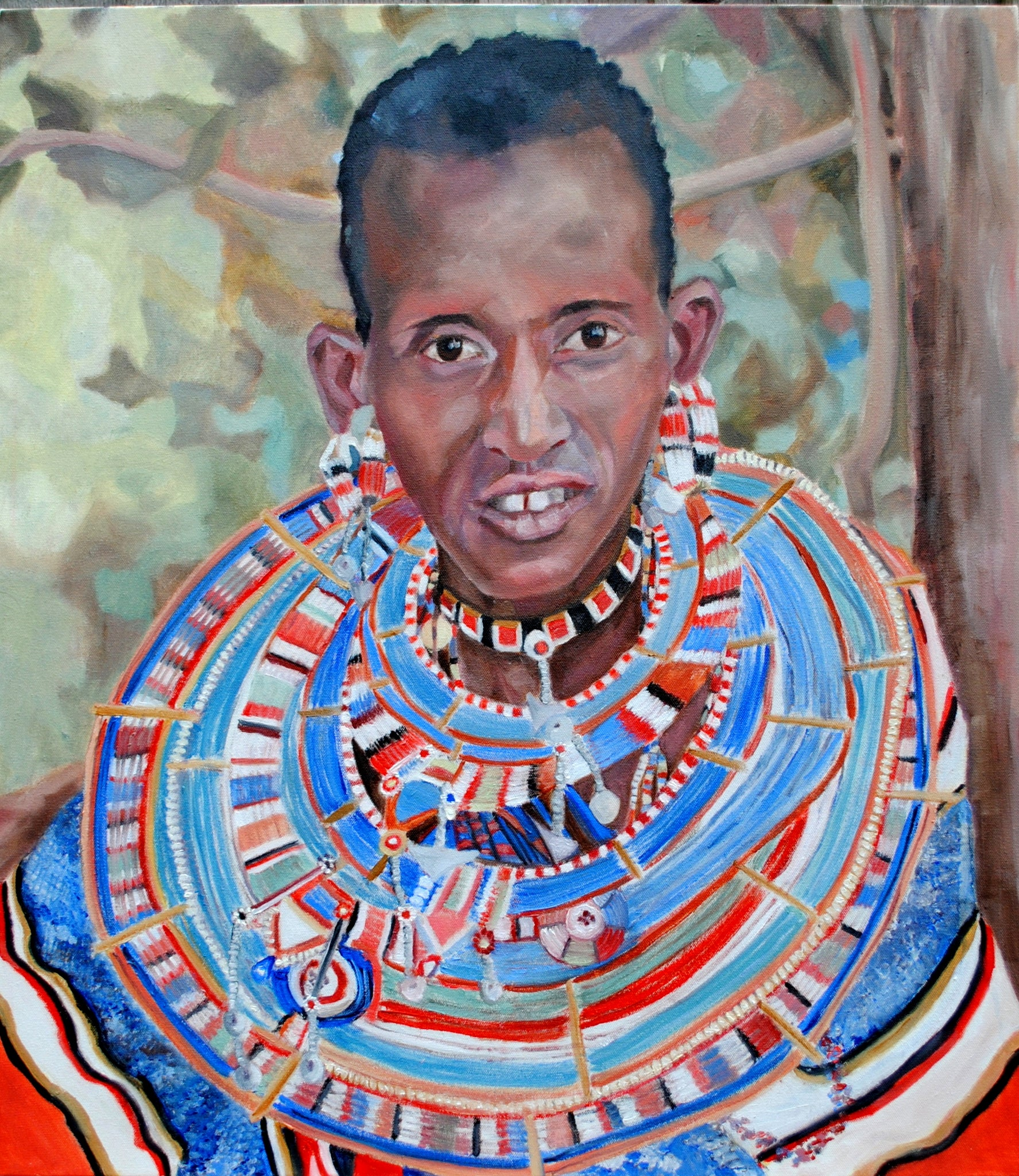 A Masaai woman oil on canvas by British figurative artist Stella Tooth