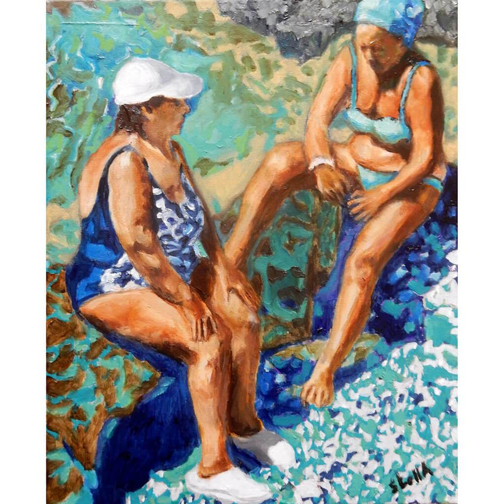 Back and forth in Ischia oil on canvas by Stella Tooth