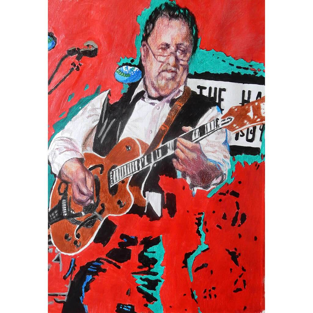 Bobby Cochran at the Half Moon Putney mixed media on paper by Stella Tooth