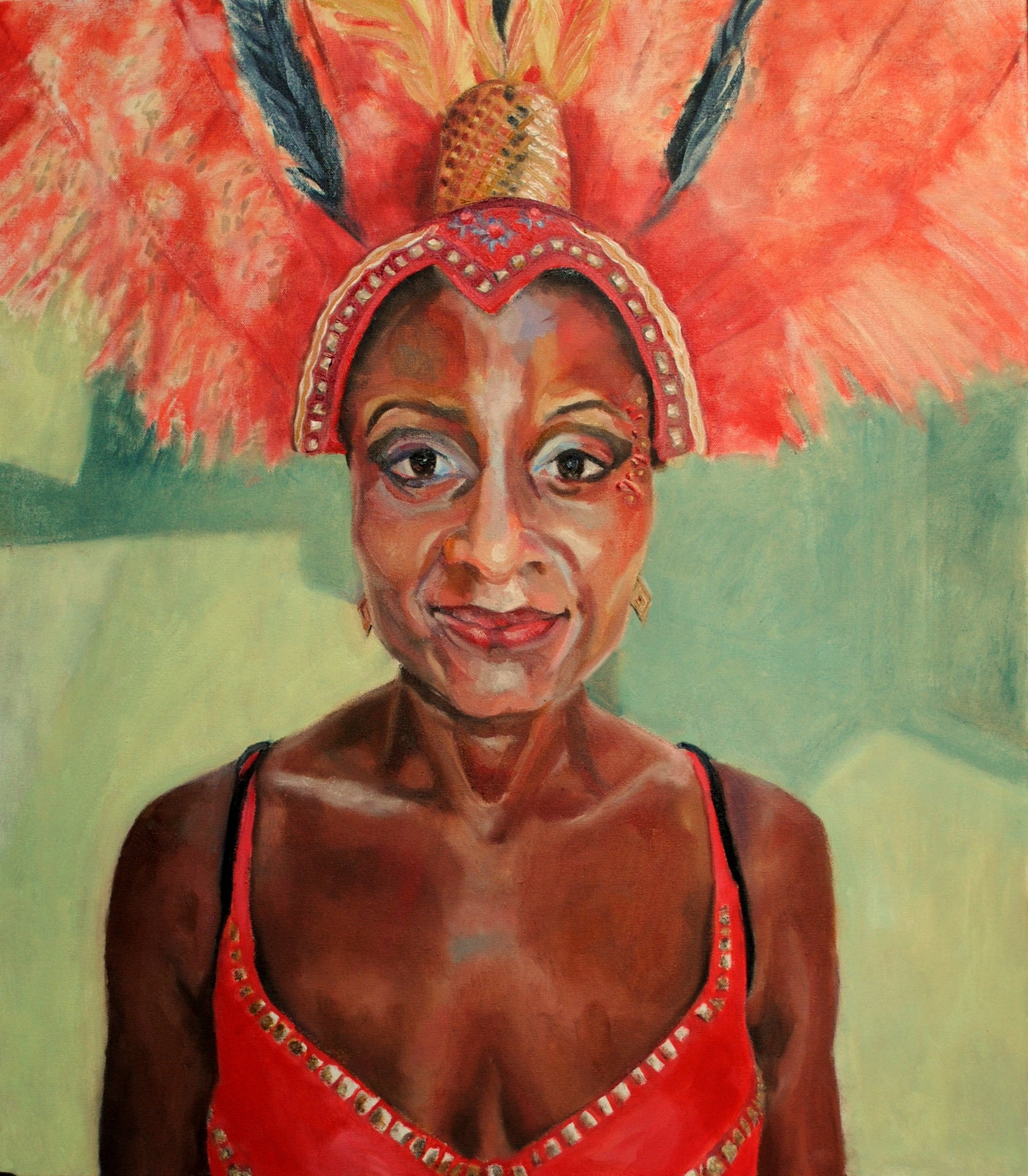 Jumping up! portrait of a Notting Hill Carnival participant by British figurative artist Stella Tooth