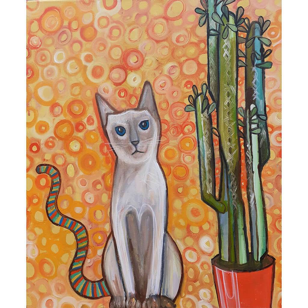 The cat with the rainbow tail by artist Wilf Frost