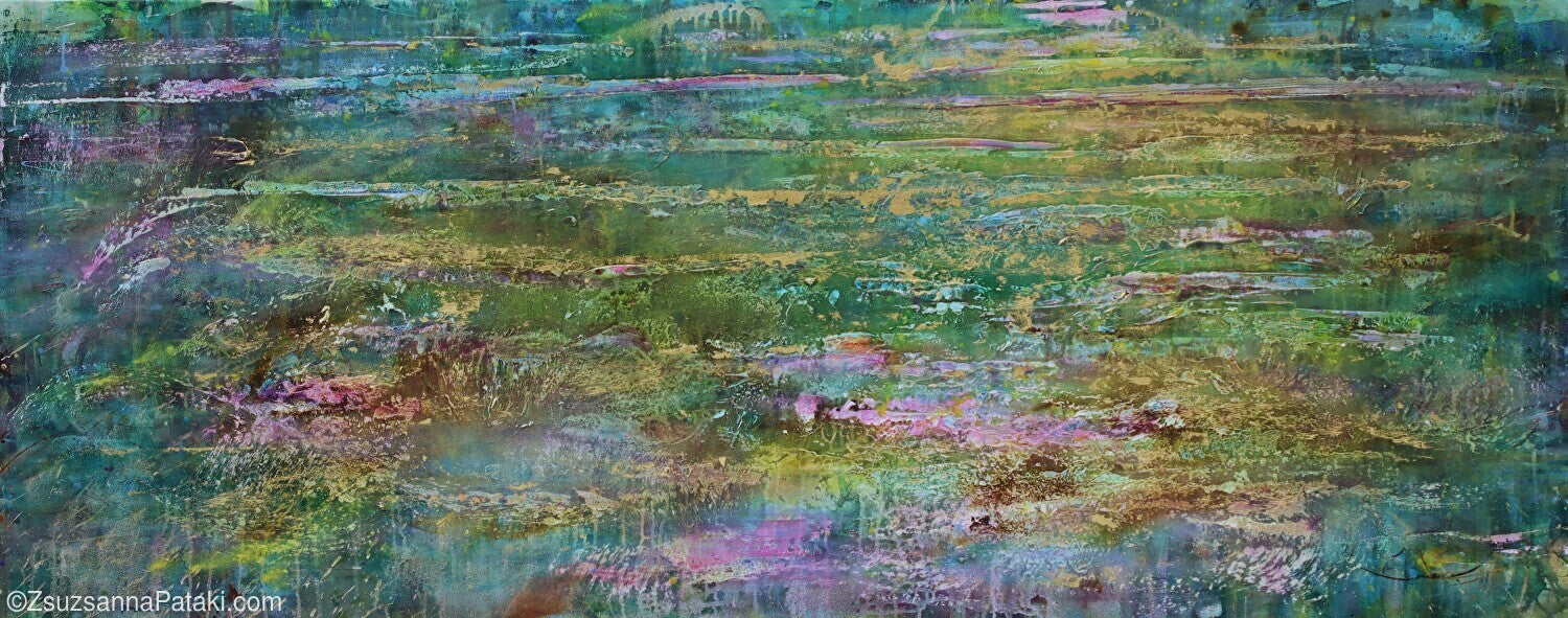 Lily pond abstract in green and gold by Zsuzsanna Pataki