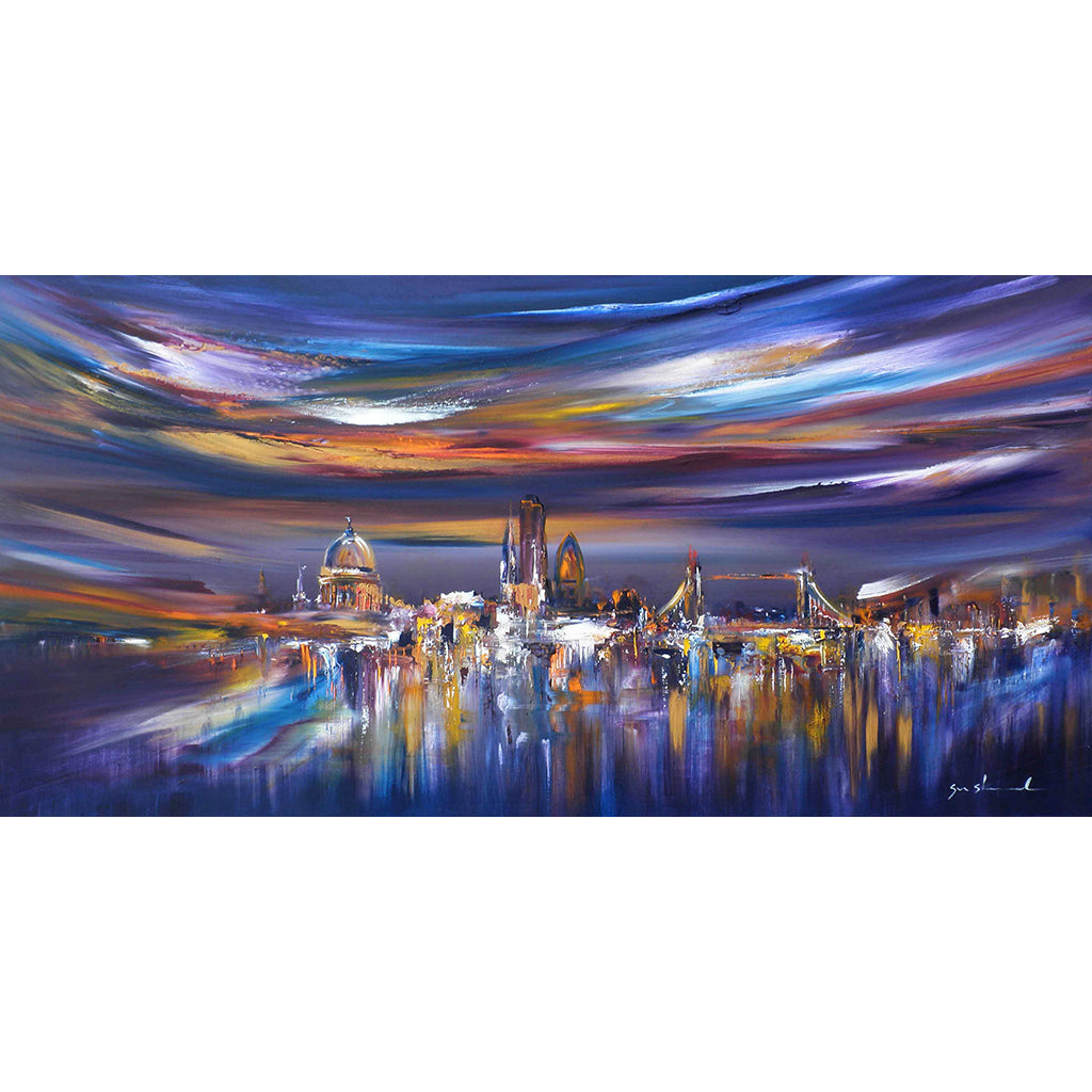 Reflected in you by Sara Sherwood, abstract and cityscape artist, is a colourful panoramic view of London painted in oil on canvas.